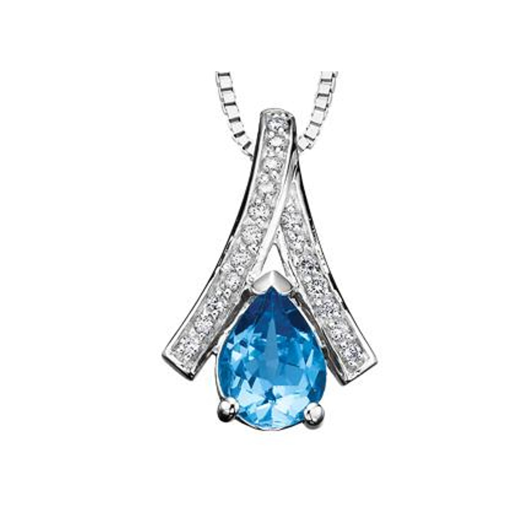 DD2540 10KT White Gold Blue Topaz & .09ct tw Diamond Pendant
