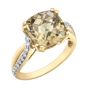 DD7521 10KT Yellow Gold Olive Quartz & .20ct tw Diamond Ring