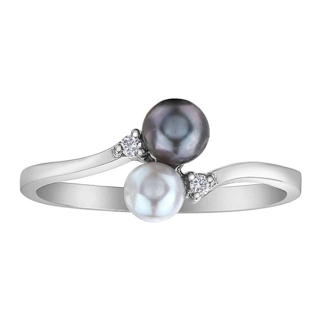 DD7767WG 10KT White Gold White Pearl, Black Pearl & 0.02ct tw Diamond Ring