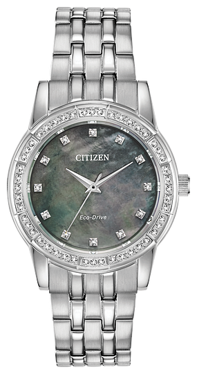 EM077052Y  CITIZEN® Eco-Drive Silhouette Crystal decorated with Swarovski® crystals on the bezel. Shown here in a stainless steel case and bracelet