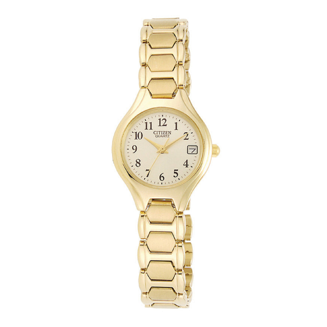 EU225256P  CITIZEN® Quartz timepiece features a gold-tone stainless steel case and bracelet with a champagne dial and date.