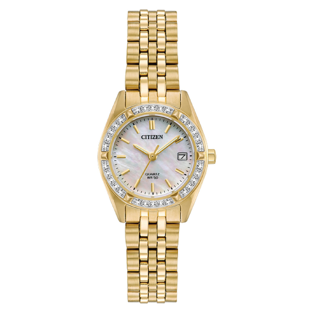 EU606250D  CITIZEN® Quartz timepiece features a gold-tone stainless steel case accented with Swarovski® crystals and a Mother-of-Pearl dial.