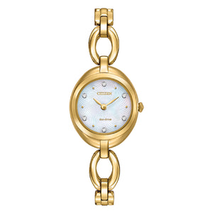 EX143251D  CITIZEN® Eco-Drive Silhouette Crystal jewellery styled bracelet. Shown in gold-tone stainless steel,