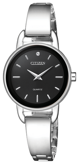 EZ637056E  CITIZEN® Quartz timepiece features a stainless steel case and bracelet with one Swarovski® crystal on the black dial.