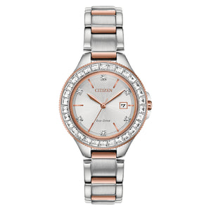 FE119657A  CITIZEN®'s Eco-Drive 2-Tone Silver & Rose Stainless Steel with Swarovski Crystals