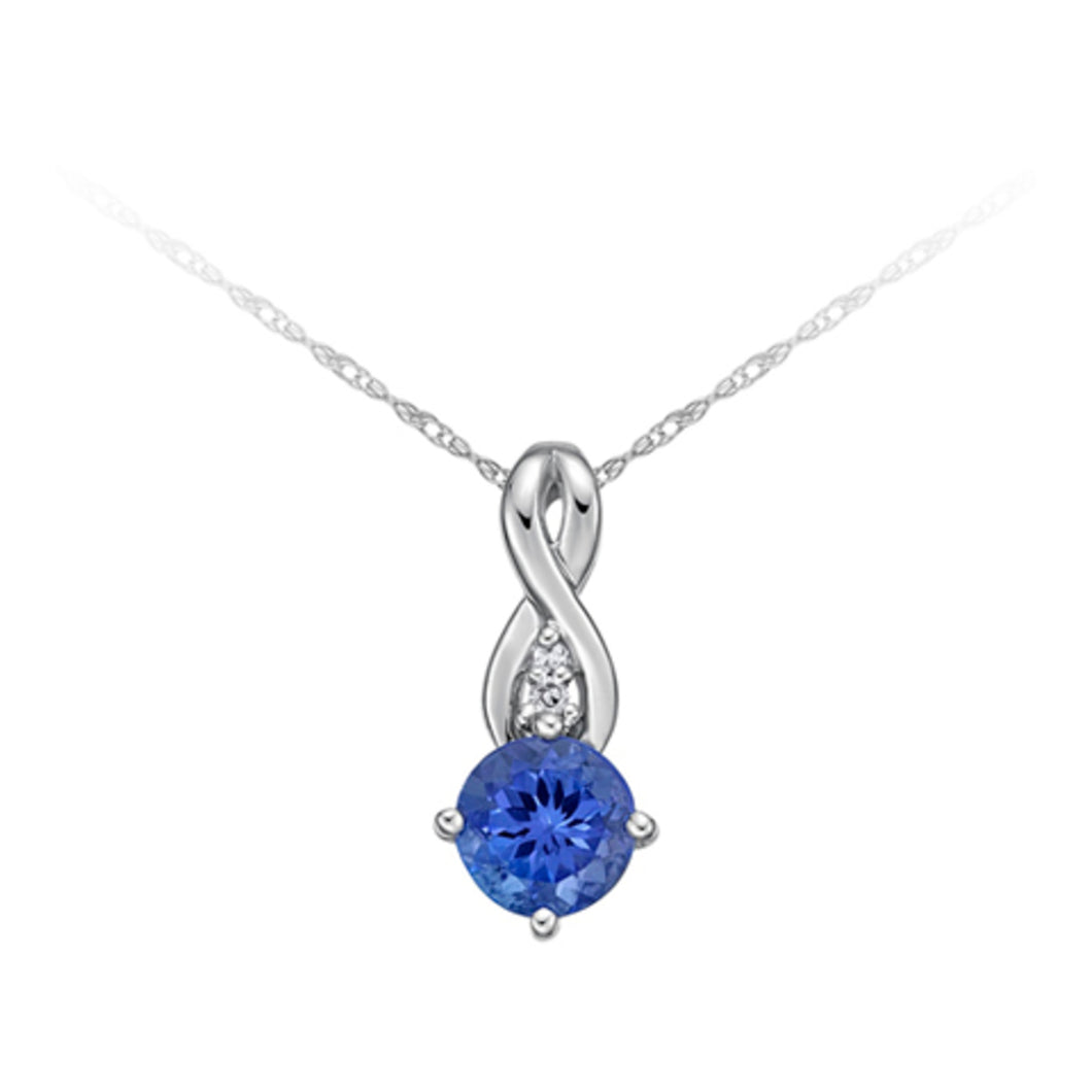 PWD0044 10K White Gold Tanzanite & Diamond Pendant