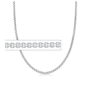 "CSB10422 22"" 2.5mm wide Sterling Silver Box Chain"