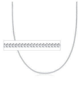 "18LC10W 18"" 0.6mm wide 10K White Gold Curb Chain"