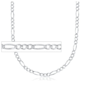 CSB19022 22mm 1.7mm wide Sterling Silver Figaro Chain