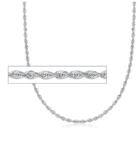 "CSB11118 18"" 1.9mm wide Sterling Silver Rope Chain"