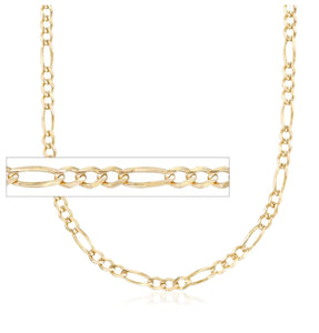 "FR08022 22"" 3.0mm wide 10K Yellow Gold Figaro Chain"