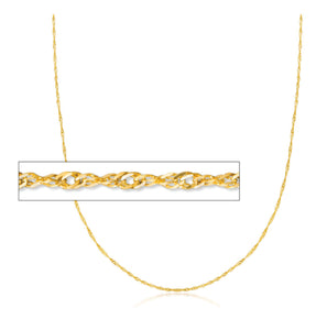 "24SING 24"" 1.4mm wide 10K Yellow Gold Singapore Chain"