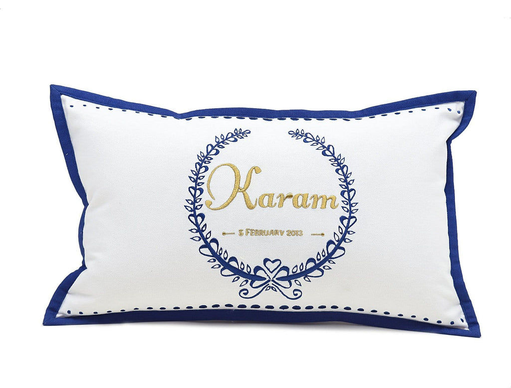 The Christen Cushion - Navy *NEW* - Embroidered decorative cushion