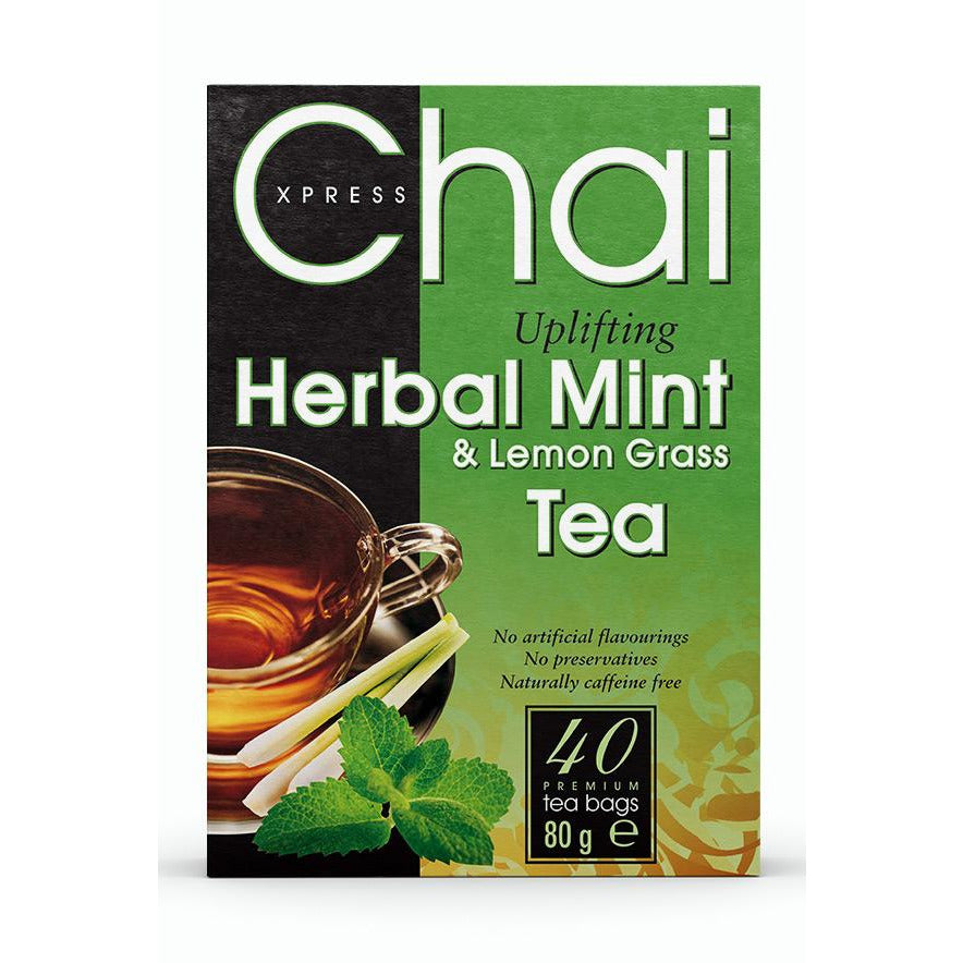 Chai Xpress Herbal Mint and Lemongrass Tea Box package