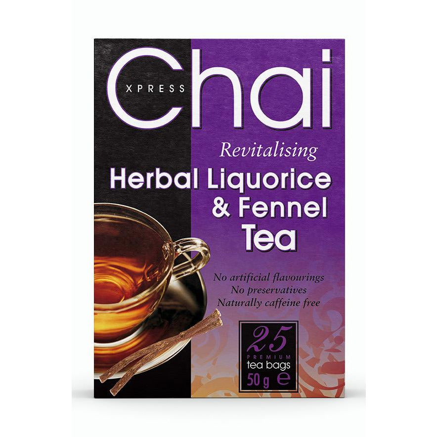 Chai Xpress Herbal Liquorice and Fennel Tea box packaging