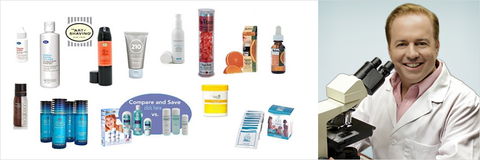 beauty products with person smiling using microscope
