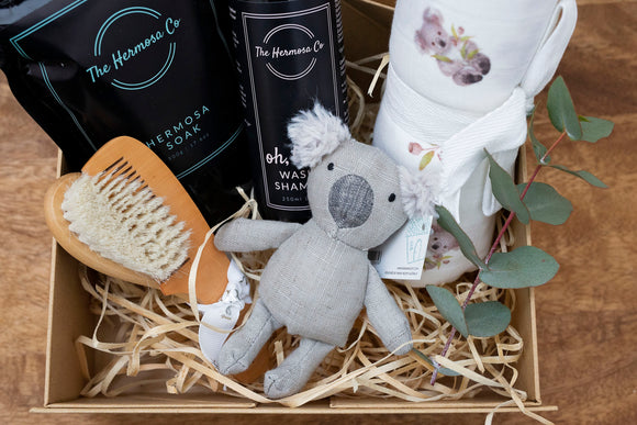 Mini Koala Baby Hamper - Koala designed organic muslin swaddle, koala rattle, baby brush and comb set, baby wash, soak