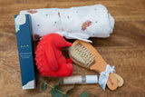 Echidna Baby Hamper - Echidna design muslin swaddle, Echidna teething and bath toy, Baby brush and comb set, essential oil roll on, rose & geranium hand treatment