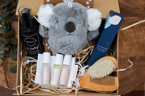 The Oils Baby Hamper - 3 essential oil roll ons, baby bath oil, hand cream, baby brush and comb set