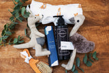 Aussie Baby Hamper - Dingo Swaddle, Emu & Kangaroo Soft Rattle, Baby Brush & Comb Set, Rose Geranium & Lavender Hand Treatment, Baby Wash