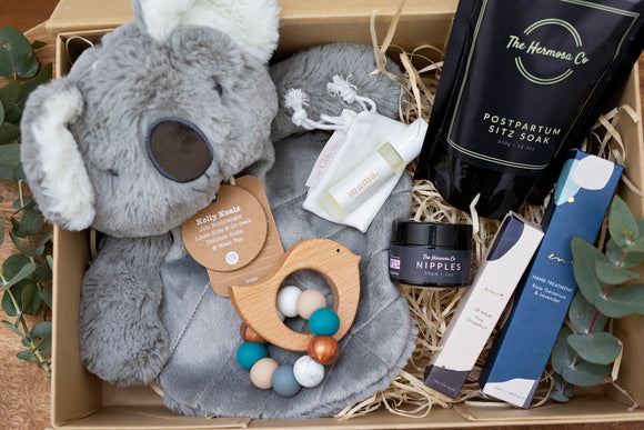 Mama & Baby Hamper - OB Design Koala Comforter, Hermosa Soak, Nipple Balm, Lip Balm, Hand Treatment, Essential Oil roll on, Teether