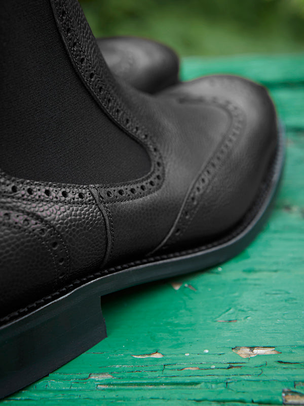 Owl black Chelsea Brogue Dealer Boot - side detail