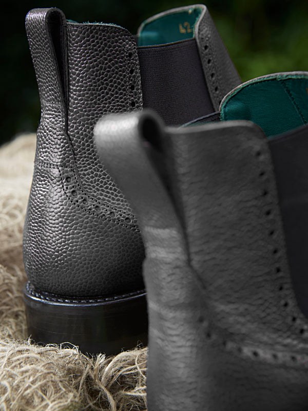 Owl black Chelsea Brogue Dealer Boot - back detail