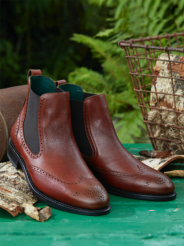 Owl - Chelsea Brogue Dealer Boot in Whiskey Leather