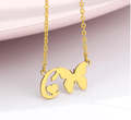 letter c necklace pendant with butterfly