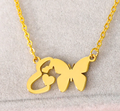 initial e necklace pendant with butterfly
