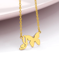 initial i necklace with butterfly