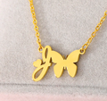 letter j necklace pendant with butterfly