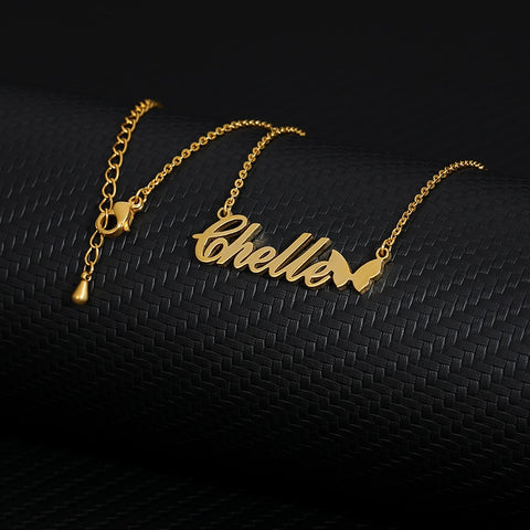 personalized name necklace with butterfly gold plated