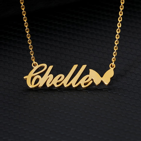 customized butterfly gold name necklace