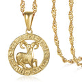 aries horoscope sign necklace gold