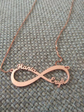 rose gold plated personalized infinity necklace