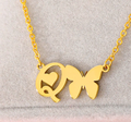 letter o necklace with butterfly and heart