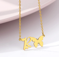 letter r necklace with heart and butterfly