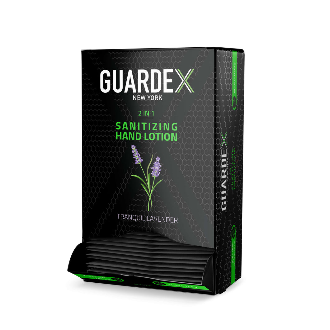 Guardex alcohol free hand sanitizing lotion sachet - Box of 100 - tranquil lavender