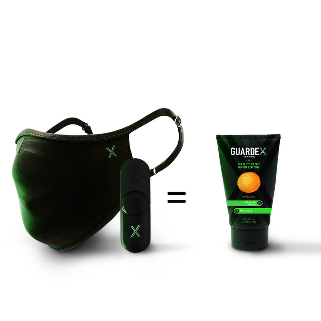 GuardeX Ultimate Protection Set with one Guardex Face Mask, uv-c pen and alcohol free sanitizing hand lotion in orange zest