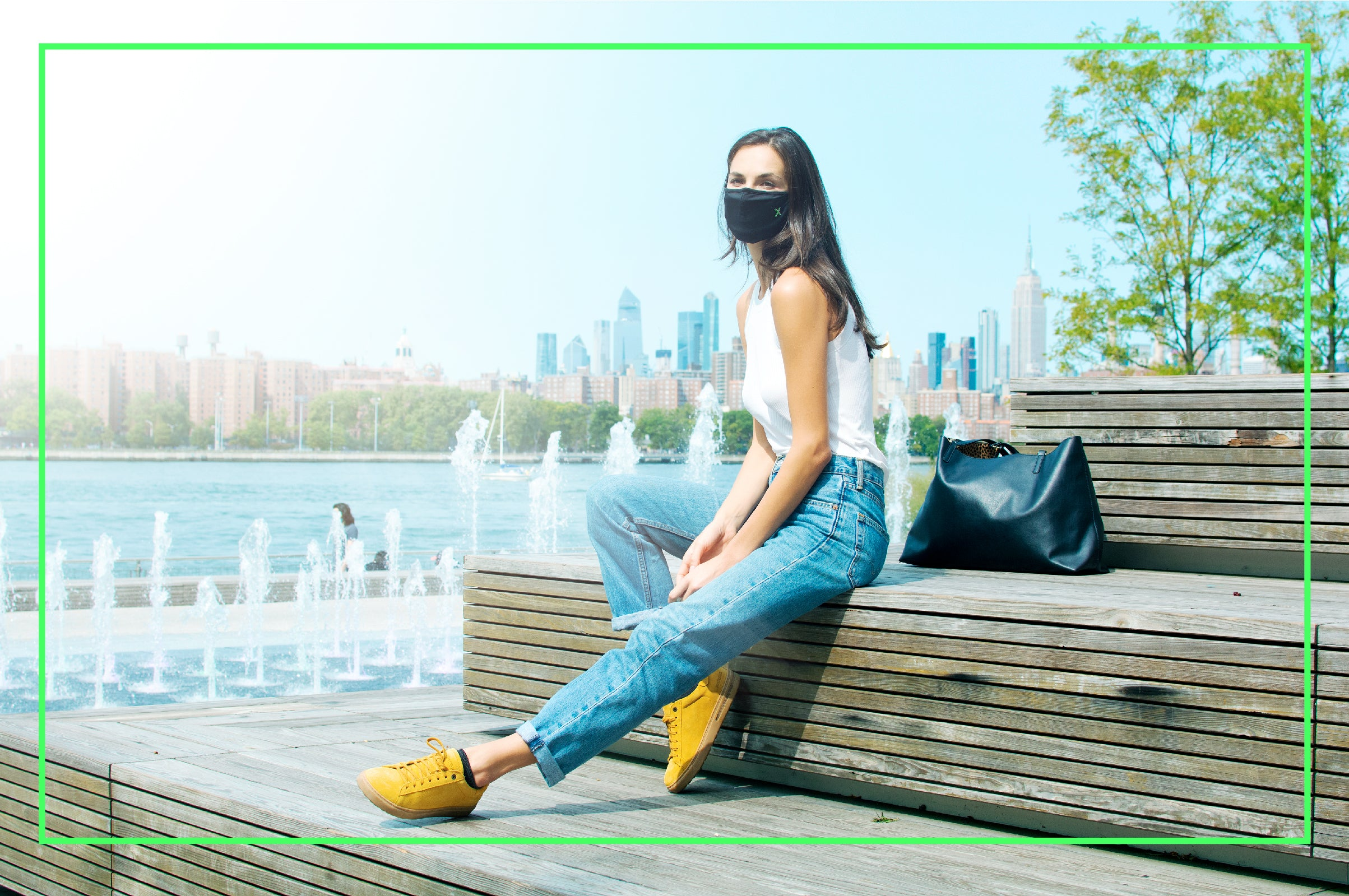 woman wearing GuardeX mask in a park