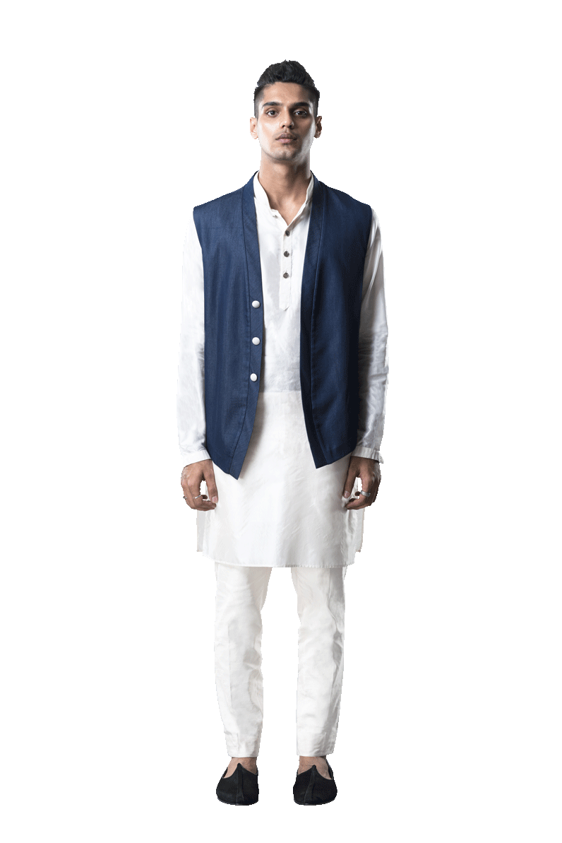DENIM JAP LAYER SLEEVELESS JACKET