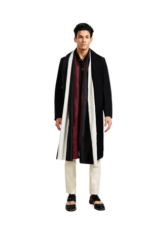 PLAIN SUITING JACKET WITH COLOR BLOCK STOLE