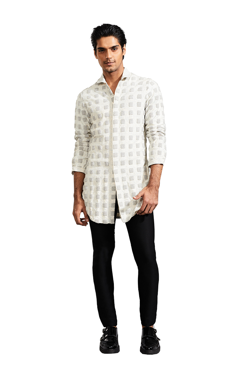 Textured Brick Knotted Kurta