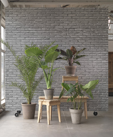 PHM-34 Silver Grey Brick Wallpaper by Piet Hein Eek