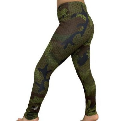 Kid's Olive Hexacamo Camouflage Legging by WSI Made in USA