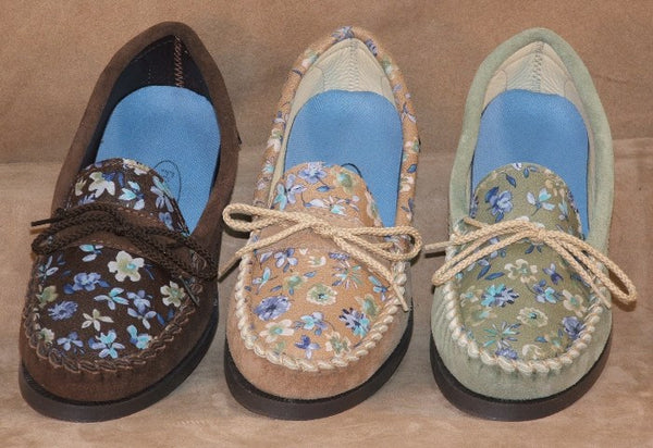 Women's Flowered Leather Shoes Made in USA by Footskins 1237