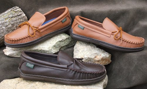 Men's Molded Sole Moccasin Made in USA by Footskin 4475 (deertan) 1475 (cowhide)