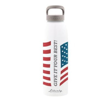 W.O.W. Flag Bottle with Blue Cap Made in USA by Liberty Bottleworks WOWbottle