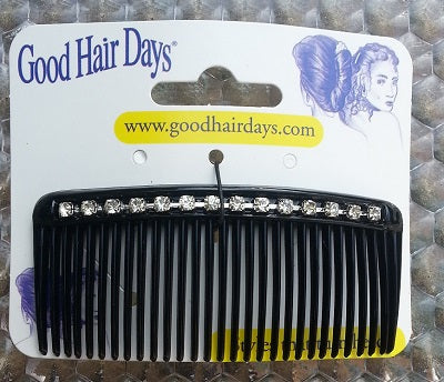 "3"" Black Comb with Crystal Stones Made in US by Good Hair Days"